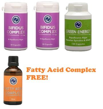 aquasource products - bifidus, green energy, fatty acid complex