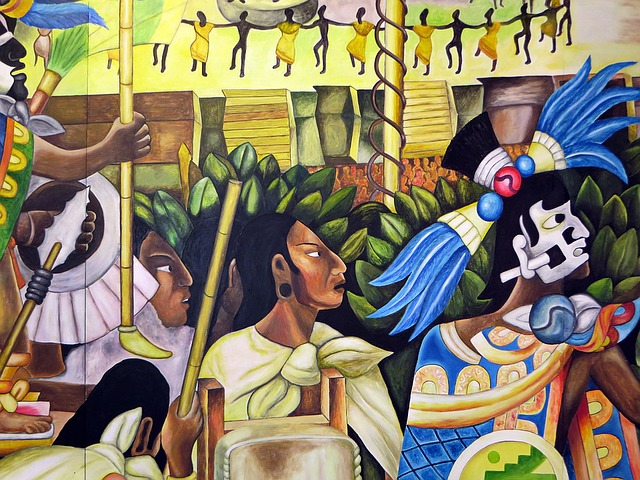 painting of Aztecs tribe in Mexico