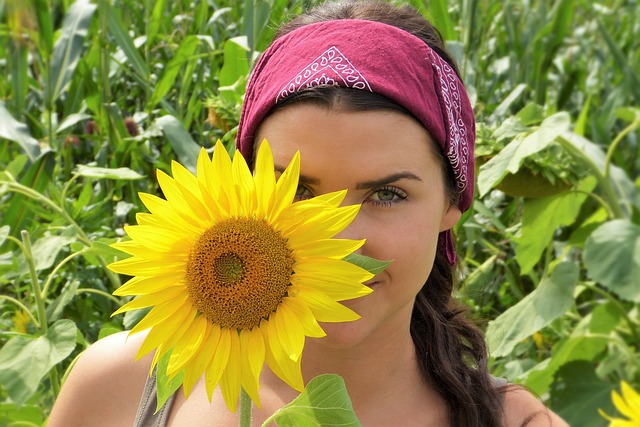 a woman with sunflower